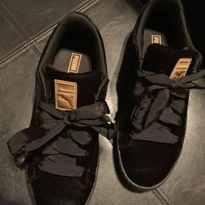 Black Suede and Gold Pumas with Ribbon Laces